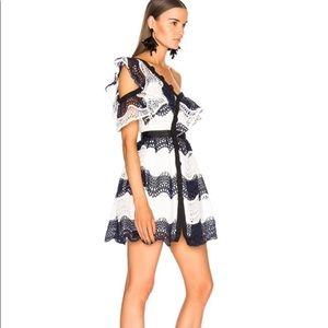 Self Portrait Wave Guipure Lace Mini Dress